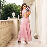 Нарядное платье женское длинное короткий рукав платье на выход розовое и синее размер батальный от 50 до 60, фото 7