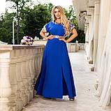 Нарядное платье женское длинное короткий рукав платье на выход розовое и синее размер батальный от 50 до 60, фото 8