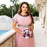 Нарядное платье женское длинное короткий рукав платье на выход розовое и синее размер батальный от 50 до 60, фото 4