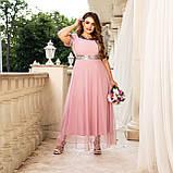 Нарядное платье женское длинное короткий рукав платье на выход розовое и синее размер батальный от 50 до 60, фото 2