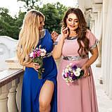 Нарядное платье женское длинное короткий рукав платье на выход розовое и синее размер батальный от 50 до 60, фото 5