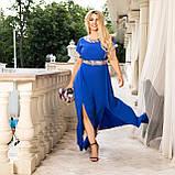 Нарядное платье женское длинное короткий рукав платье на выход розовое и синее размер батальный от 50 до 60, фото 3
