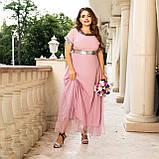 Нарядное платье женское длинное короткий рукав платье на выход розовое и синее размер батальный от 50 до 60, фото 10