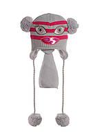 Детская зимняя вязаная шапочка, украшенная пайетками, с помпонами и шарфиком.