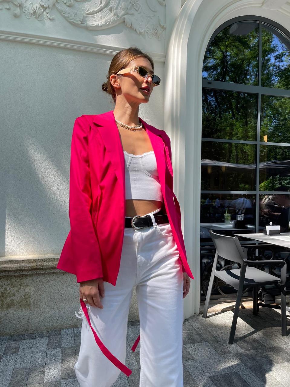 Класичний стильний жіночий котоновий піджак на зав'язках, на підкладці