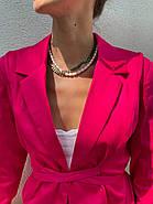Классический стильный женский котоновый пиджак на завязках, на подкладке, фото 4