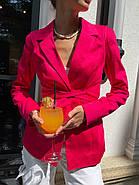 Класичний стильний жіночий котоновий піджак на зав'язках, на підкладці, фото 6