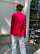 Класичний стильний жіночий котоновий піджак на зав'язках, на підкладці, фото 2