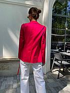 Классический стильный женский котоновый пиджак на завязках, на подкладке, фото 2