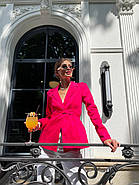 Класичний стильний жіночий котоновий піджак на зав'язках, на підкладці, фото 5