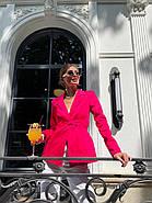 Классический стильный женский котоновый пиджак на завязках, на подкладке, фото 5