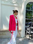 Класичний стильний жіночий котоновий піджак на зав'язках, на підкладці, фото 3