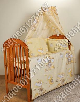 Детское постельное белье и защита (бортик) в детскую кроватку (мишки на лесенке бежевый), фото 2