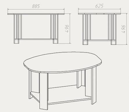 """Журнальный столик """"Овал"""", фото 2"""