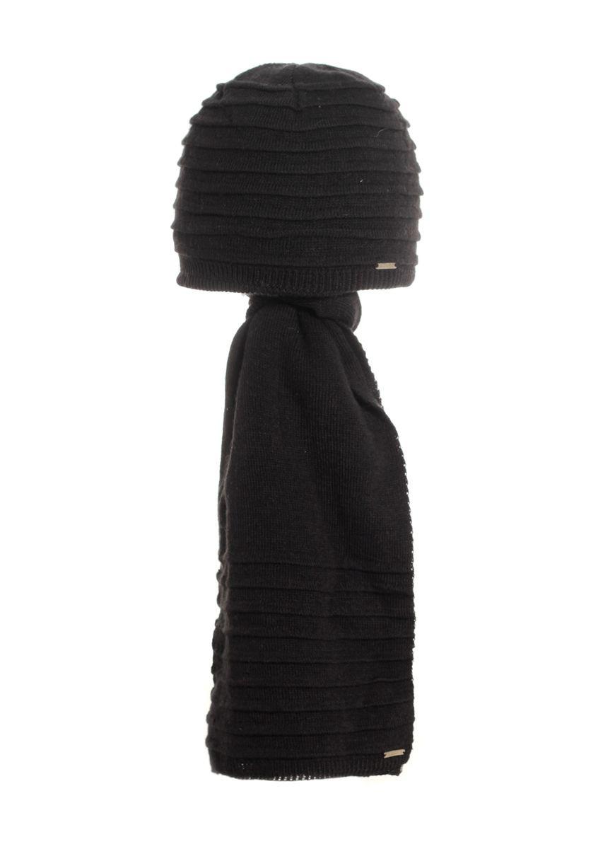 Гарний оригінальний в'язаний комплект шапка і шарф.