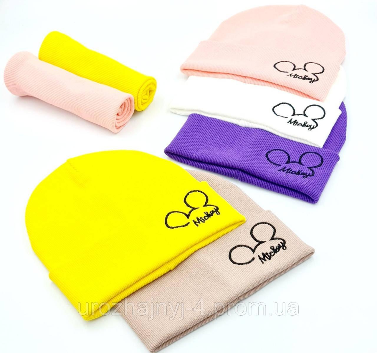 """Дитячий  комплект шапка і хомут з вишивкою """"Mickey"""" Розмір 50-52 код 5079 Glory-kids"""
