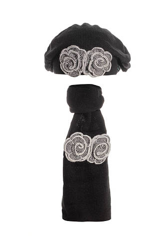 Берет и шарф с красивыми меланжевыми серыми цветами. , фото 2