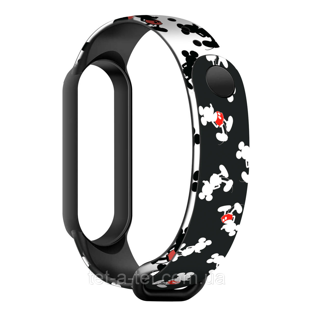 Силіконовий ремінець з принтом Cartoon для Xiaomi Mi Band 6/5 Mickey Siluet Black (чорний)