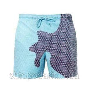 Шорты хамелеон для плавания, пляжные мужские спортивные меняющие цвет синие в квадраты размер S код 26-0123