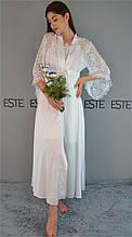 Роскошный халат на утро невесты Este шелковый длинный с кружевом 810-белый.