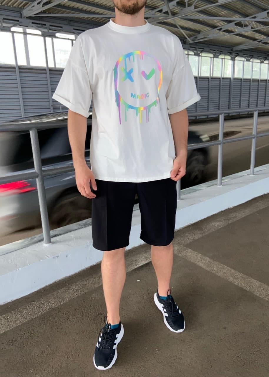 Чоловіча біла футболка з малюнком бавовна Haipp magic