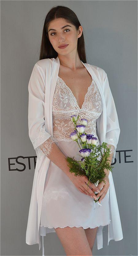 Белый комплект на утро невесты халат и сорочка Este полупрозрачный с кружевом.
