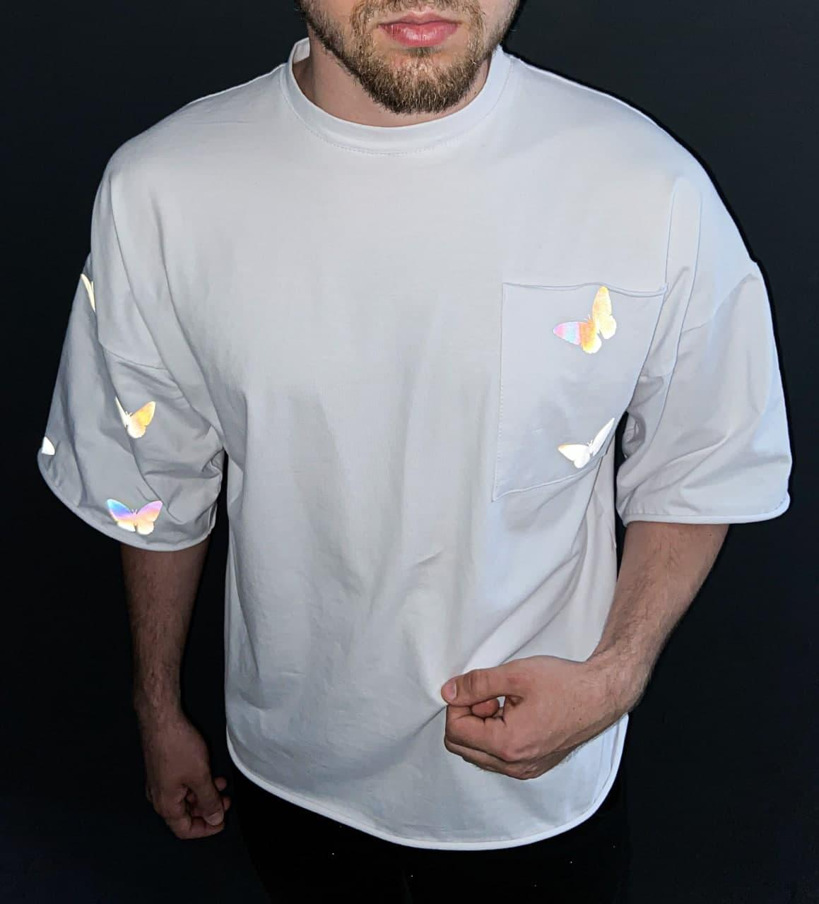 Чоловіча біла футболка з малюнком бавовна Small butterflies