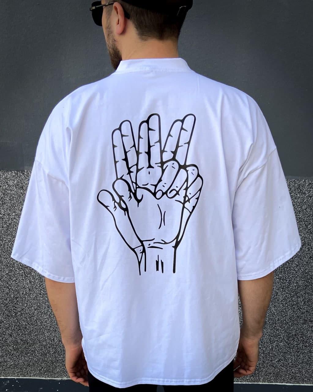 Мужская белая футболка с рисунком хлопок Hand
