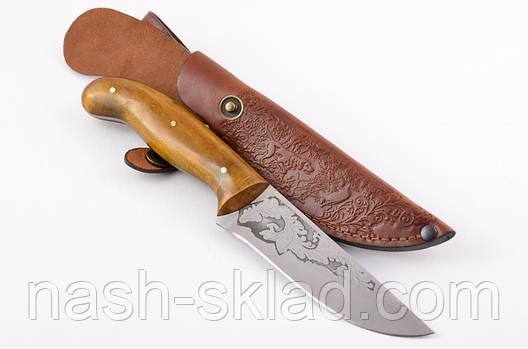 Нож охотничий ручной работы Щука с кожаным чехлом + эксклюзивные фото, фото 2