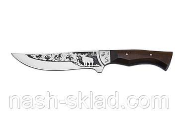 Нож охотничий ручной работы Олень, кожаный чехол в комплекте, фото 2