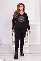 Крутой прогулочный костюм из двунитки стрейч штаны и свитшот с леопардовым принтом р: 50, 52, 54, 56 арт. 5077
