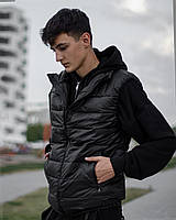 Жилетка спортивная мужская без капюшона, крутой теплый жилет, безрукавка черная bazes, фото 1