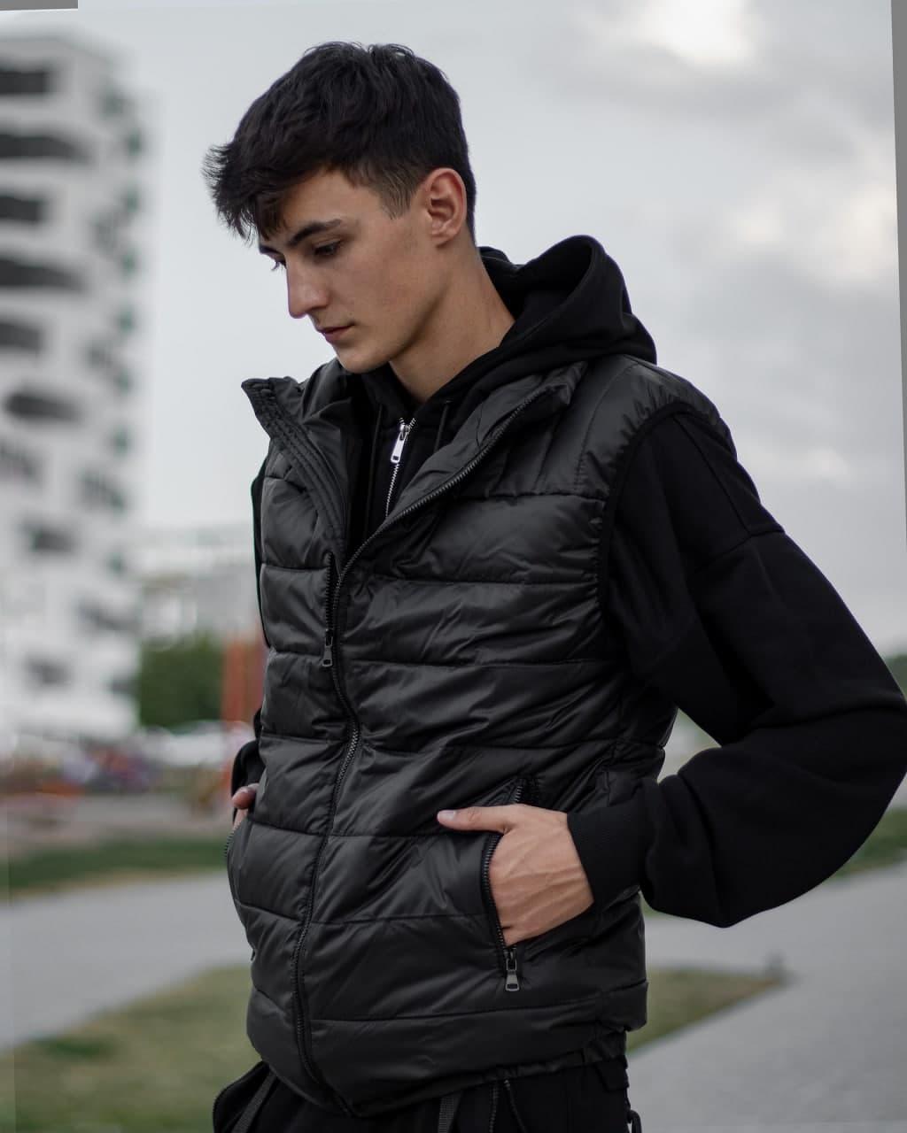 Жилетка спортивная мужская без капюшона, крутой теплый жилет, безрукавка черная bazes