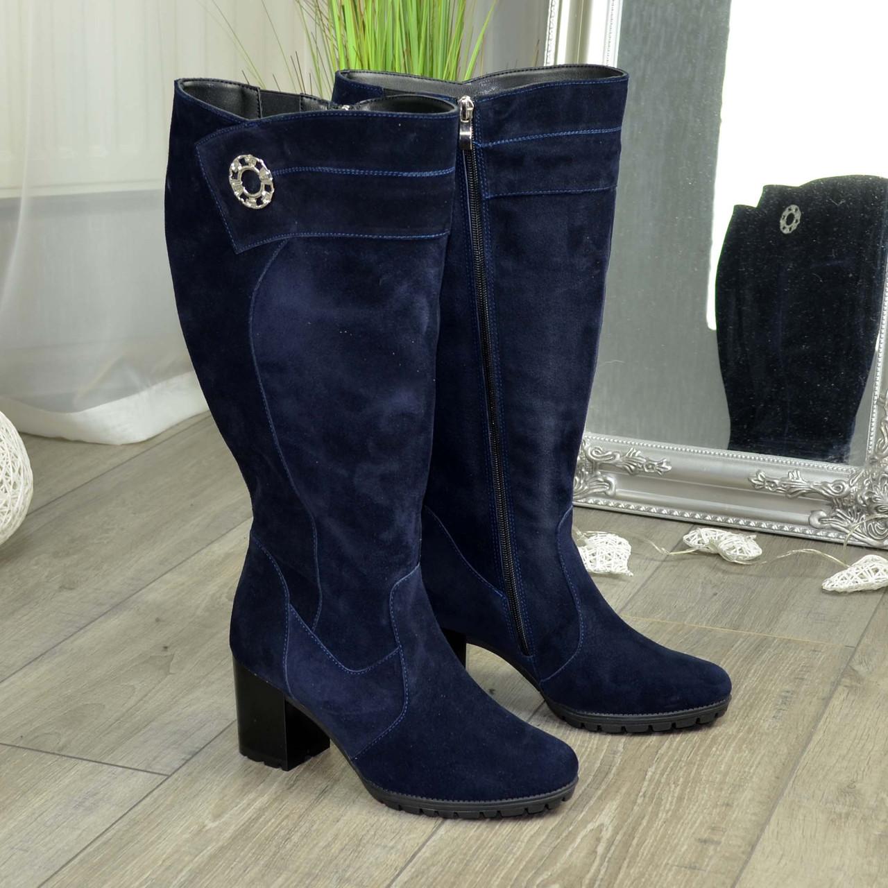 Женские синие замшевые сапоги на устойчивом каблуке. Батал!