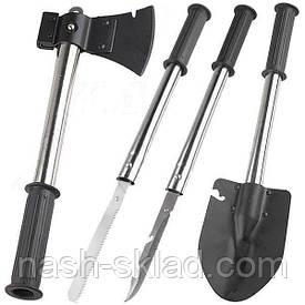 Набор туриста, топор, лопата, пила и штык-нож