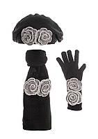 Берет, перчатки и шарф с красивыми меланжевыми серыми цветами.
