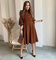 Женское вельветовое платье миди с объемными рукавами