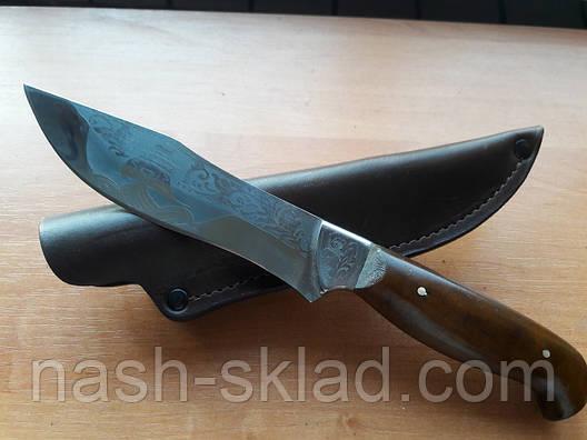 Нож охотничий Корсар (Ручная работа), мощный и надежный, кожаный чехол в комплекте, фото 2