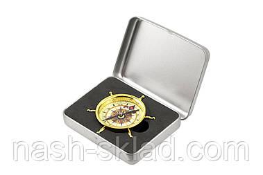 Компас Штурвал в металлической коробке, подарок туристу и рыбаку