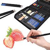 Набір олівців для малювання в нейлон професійний 95 предметів Олівці для скетчінга з альбомом, фото 3