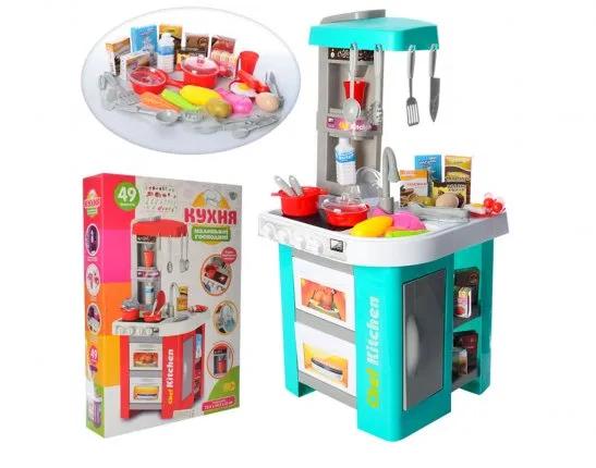 Детская игровая кухня 922-48, звук, свет, течет вода, в коробке, на 49 предмета