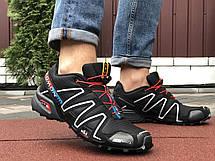 Кроссовки для бега Salomon Speedcross 3,черно белые с красным, фото 3