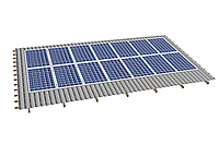 Комплект на 14 модулей на металлочерепичную скатную крышу.