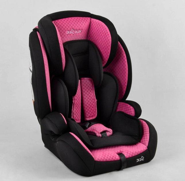Дитяче автомобільне крісло зі знімним чохлом JOY 10866, система ISOFIX, група 1/2/3 (9-36 кг), колір рожевий