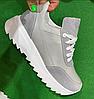 Кросівки жіночі сірі шкіряні з вставками сірої замші