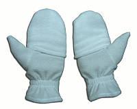Перчатки из полар-флиса с откидной варежкой белые размер XL.