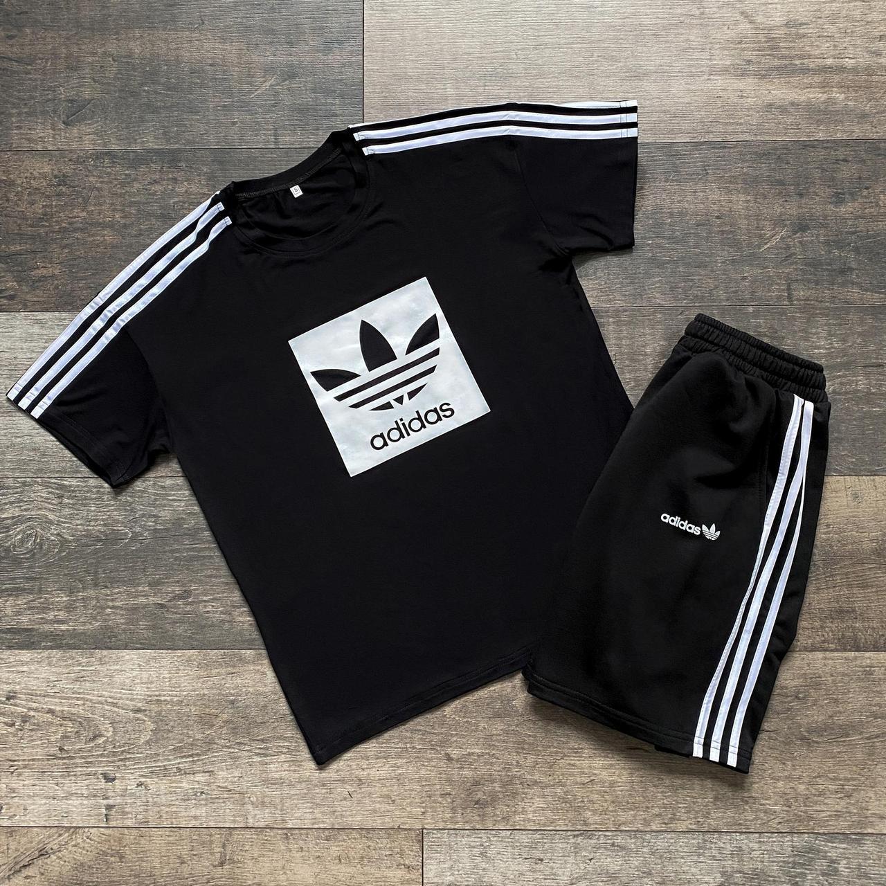 Літня футболка + шорти Літній чоловічий комплект Літній Спортивний костюм Адідас чорного кольору