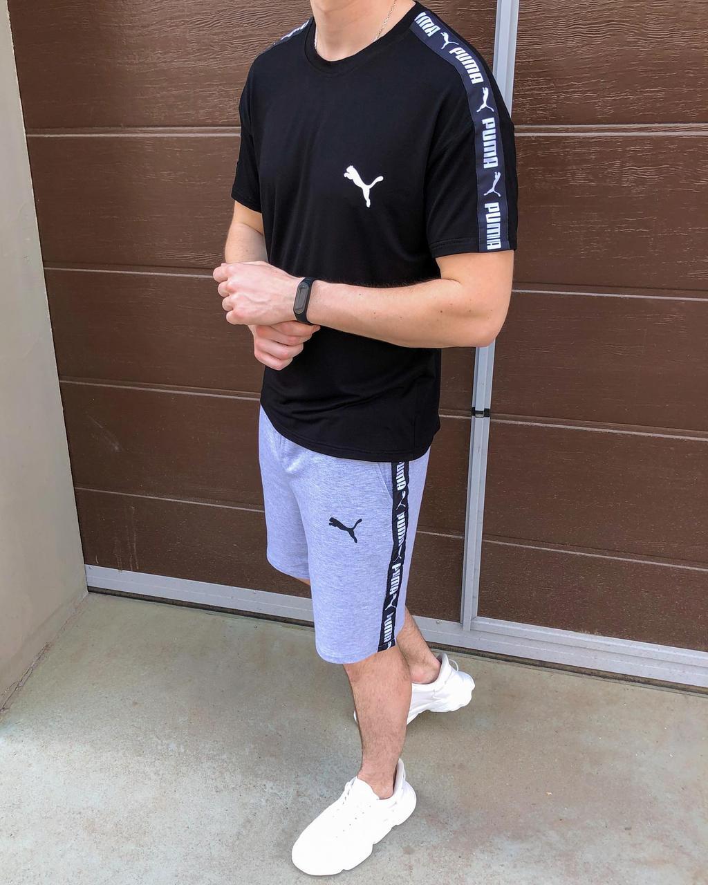Літня футболка + шорти Літній чоловічий комплект Puma Літній Спортивний костюм Пума чорного кольору