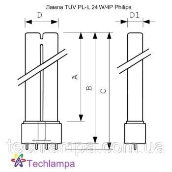 Лампа бактерицидная TUV PL-L 24W/4P Philips