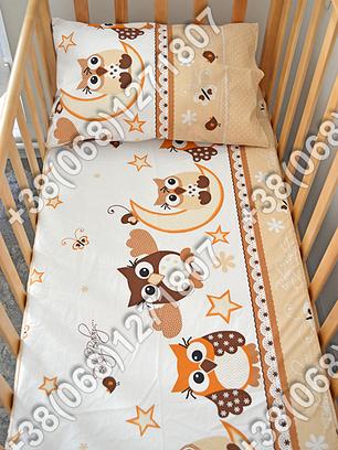 Детское постельное белье в кроватку, постельный комплект (сова бежевый), фото 2